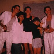 "Kevin Kamp(right) and me wearing our best ""Miami Vice"" outfits."