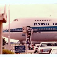 Flying Tigers 747 loading up to take members back to the world.